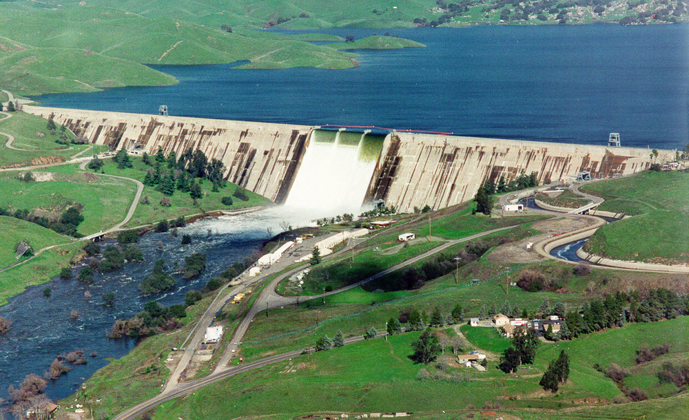 Friant Dam in flood releases during spring