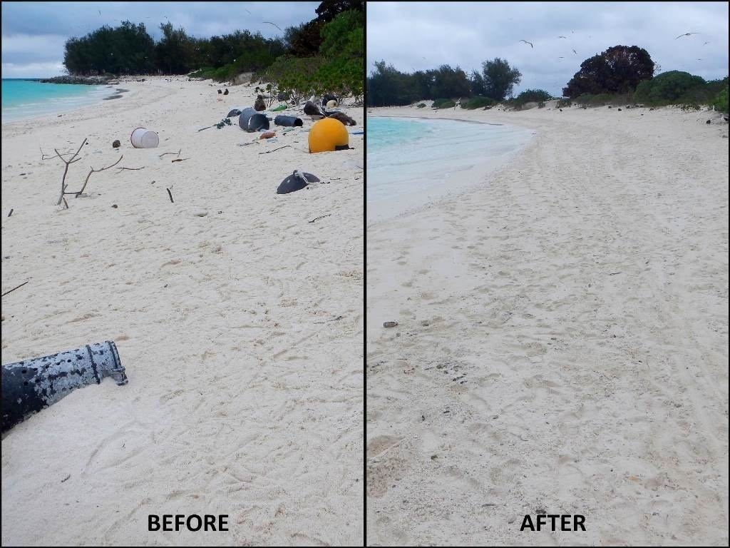 On April 30, 2016, the team returned to Midway Atoll for one day to clean up 2,256 lbs of marine debris from Turtle Beach on the northern shoreline of Sand Island at Midway Atoll National Wildlife Refuge. Photo: NOAA Fisheries