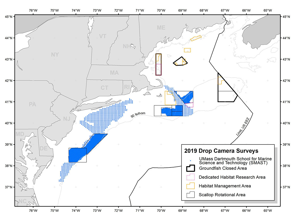 Map of coast line showing drop camera survey areas.
