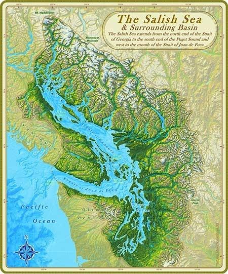 Salish Sea & surrounding basin map