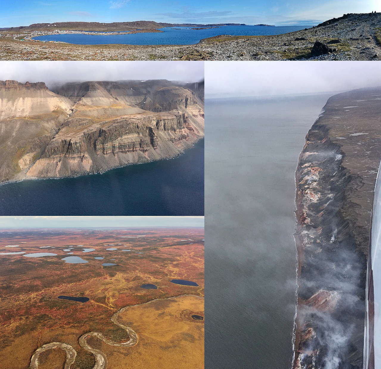 In addition to bowhead whales and other marine mammals, the ASAMM Bowhead Whale teams also saw spectacular sights in the Northwest Territories, Canada. The view above the village of Ulukhaktok (top). Sheer cliff faces of Banks Island (top left). Smoking Hills (right). Fiery fall tundra (bottom left). The  Canadian Arctic was bathed in never-ending beauty to behold.