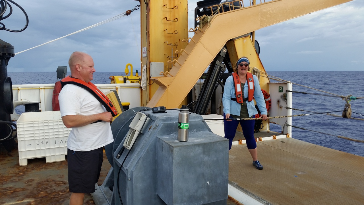 Managing the passive acoustic hydrophone array that is towed 300 meters behind the ship