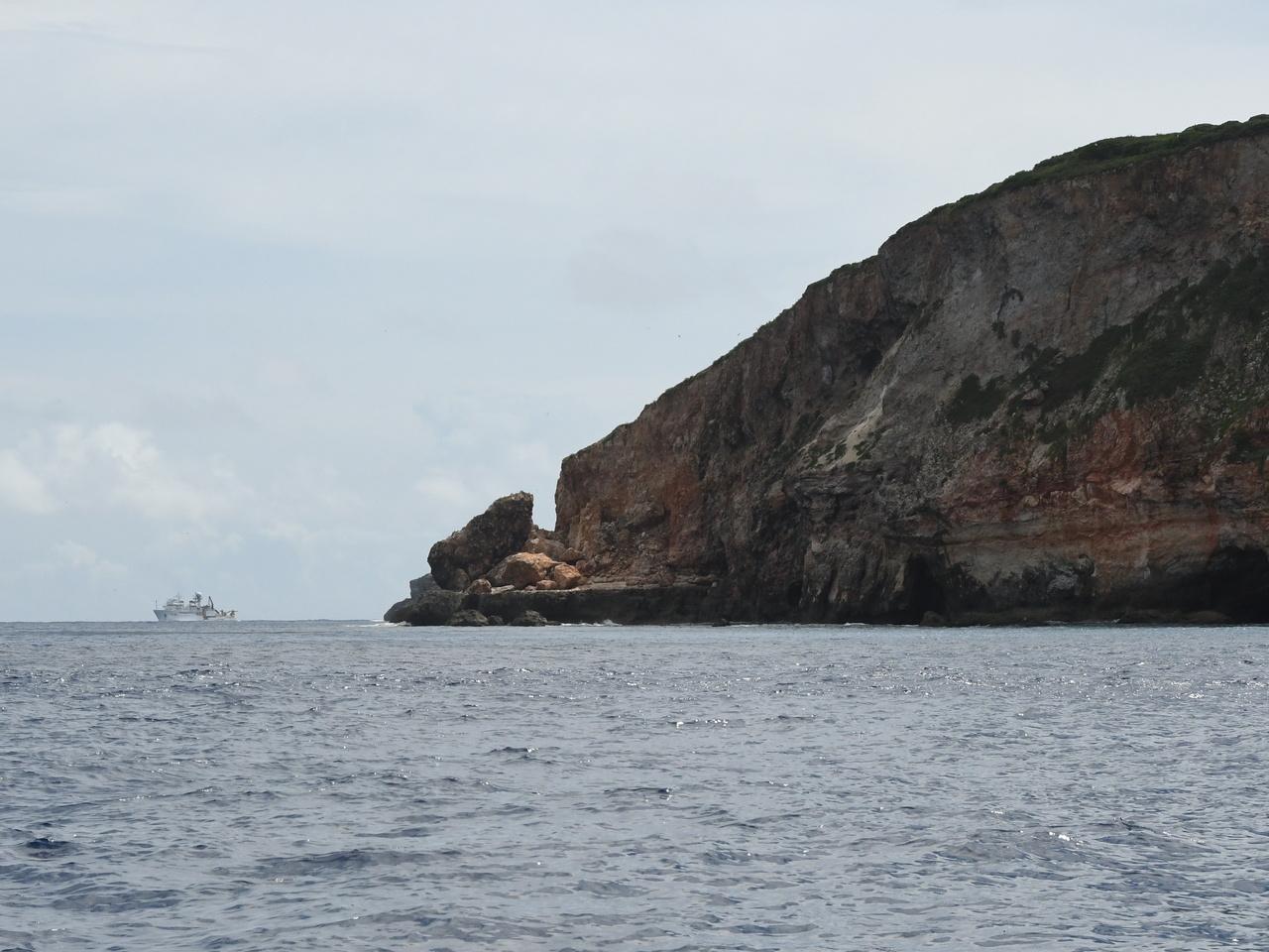 NOAA ship Oscar Elton Sette seen offshore of Farallon de Medinilla (FDM).