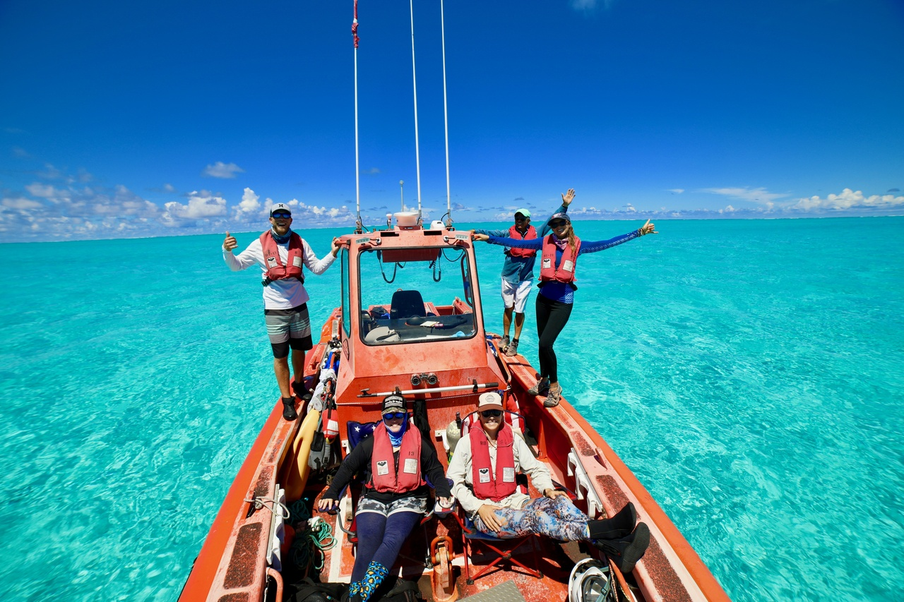 Divers enjoy the beauty of this special place while waiting out their surface intervals before the next survey dive at Kure Atoll. <i>Photo: NOAA Fisheries/James Morioka. </i>