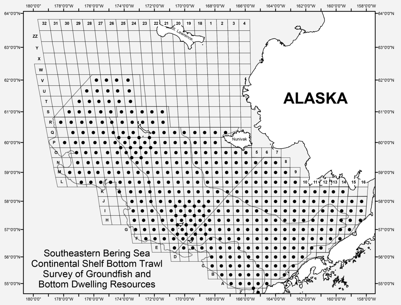 Southeastern Bering Sea Continental Shelf Bottom Trawl Survey of Groundfish and Bottom Dwelling Resources (map plot)