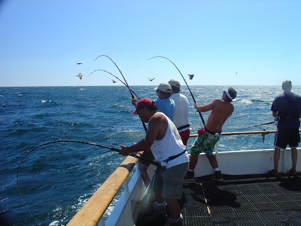 People fishing aboard vessel