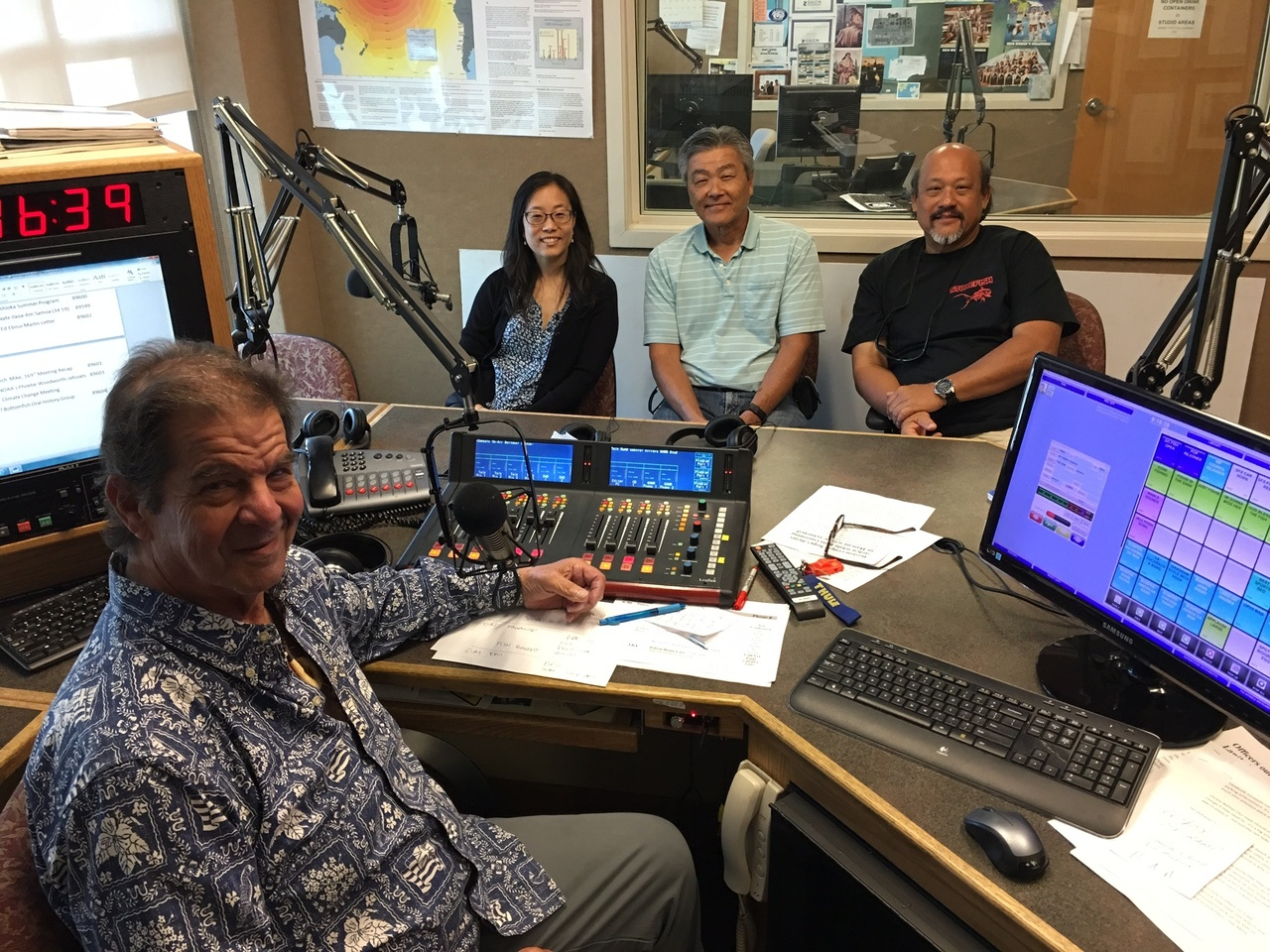 Kirsten Leong NOAA Social Scientist, Kurt Kawamoto NOAA Fishery Biologist, and Clay Tam Pacific Islands Fisheries Group in the studio with Mike Buck.