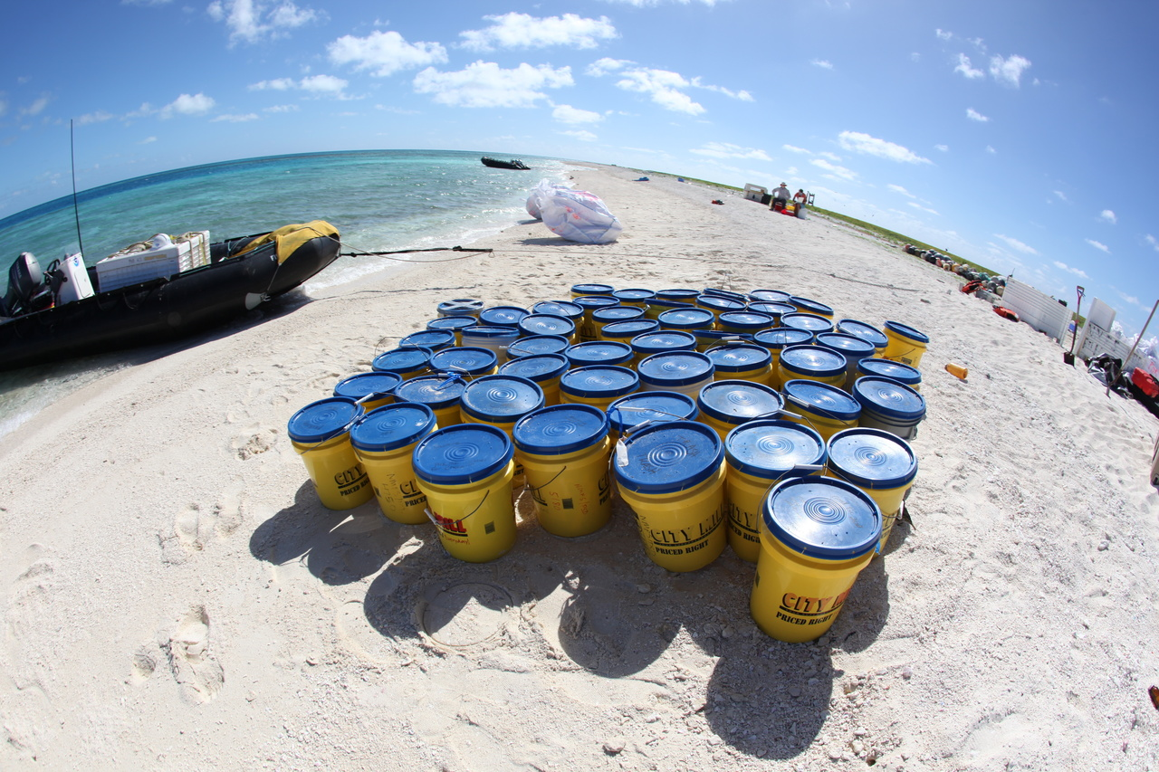 Buckets holding gear for field scientists at Pearl and Hermes Atoll