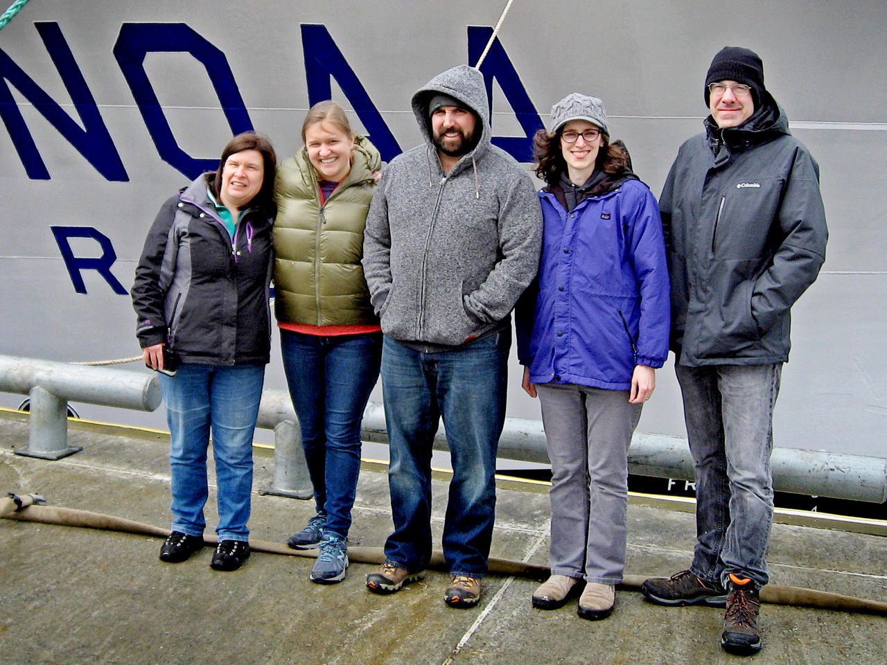The spring survey team from left to right: Annette Dougherty (Chief Scientist, Biological Oceanographer/Fisheries Biologist), Hillary Thalmann (OSU Grad Student), Jesse Lamb (Zooplankton Researcher), Colleen Harpold (Zooplankton Research), and Steve Porter (Fisheries Biologist)..jpg