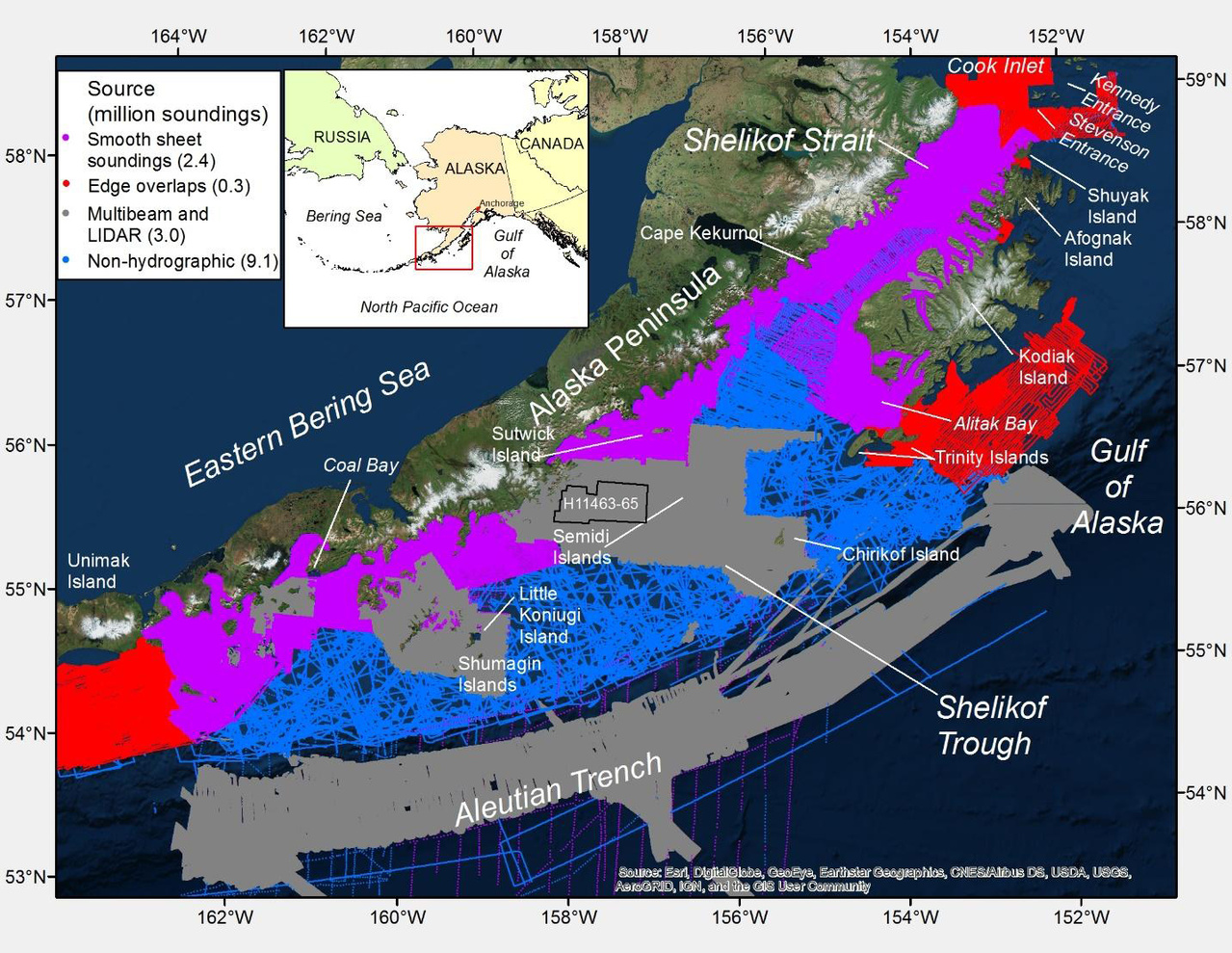 Sources of bathymetry data used to create new seafloor maps.