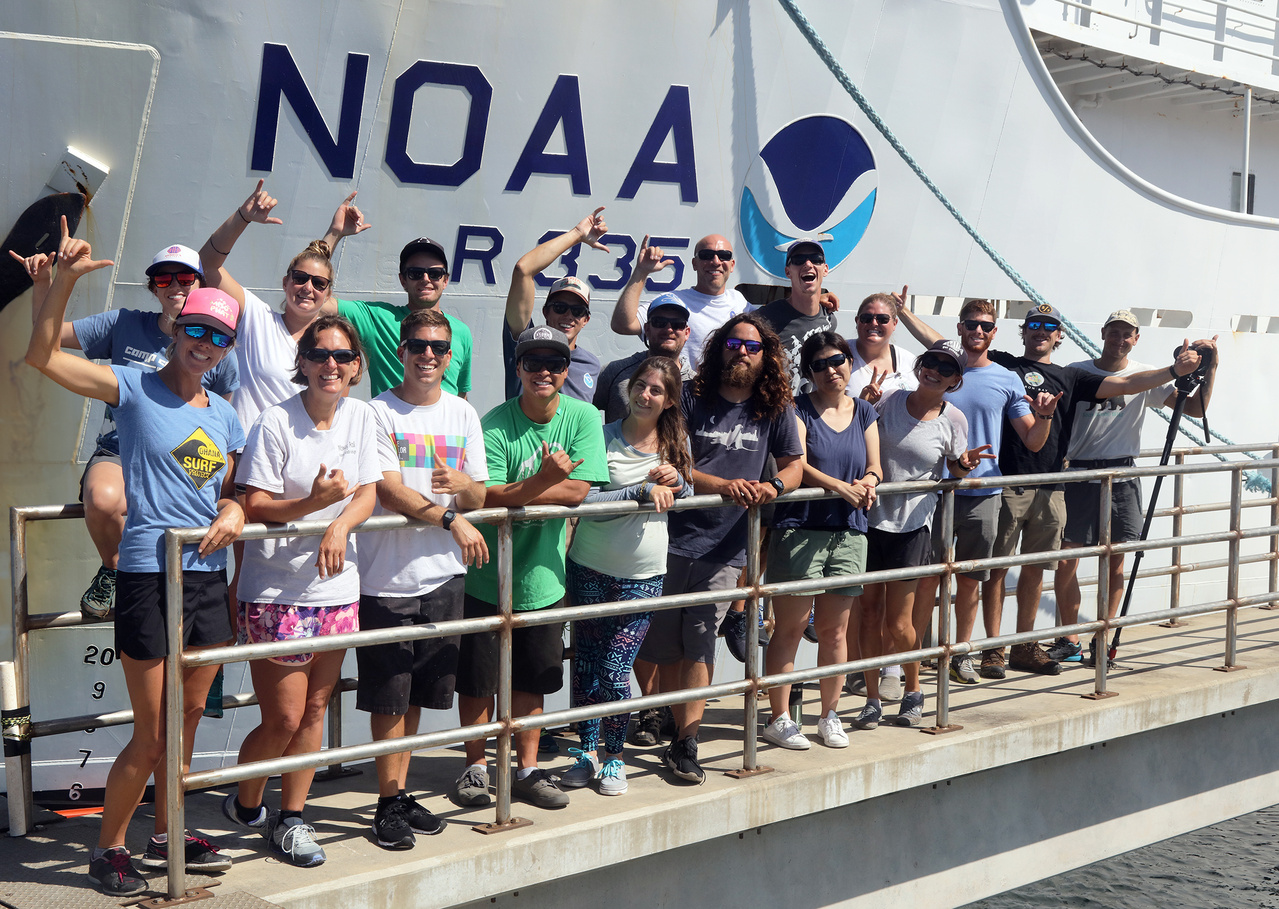 Marine debris team on the pier in front of the NOAA Ship Sette