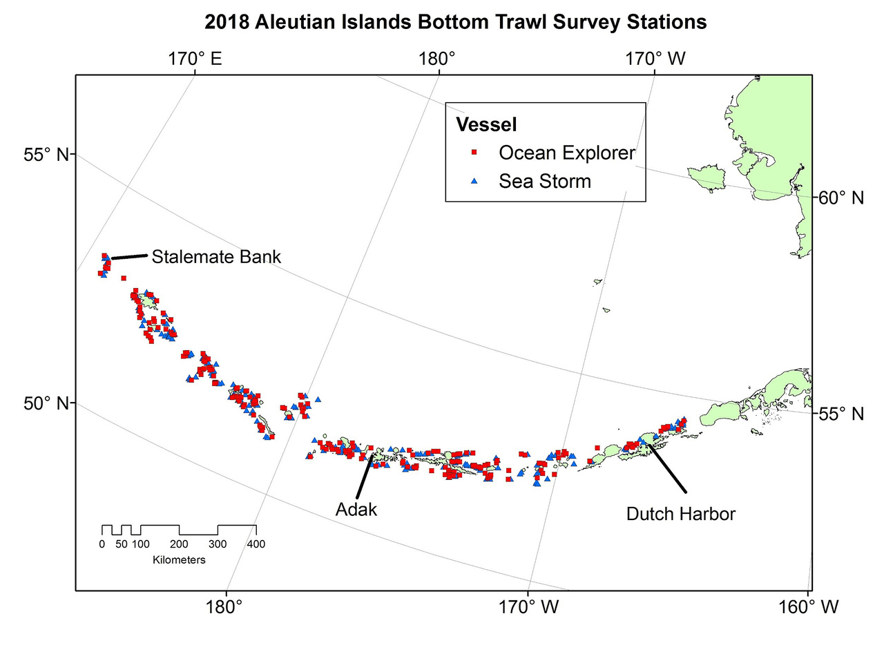 Proposed sample stations for the Aleutian Islands Bottom Trawl Survey.