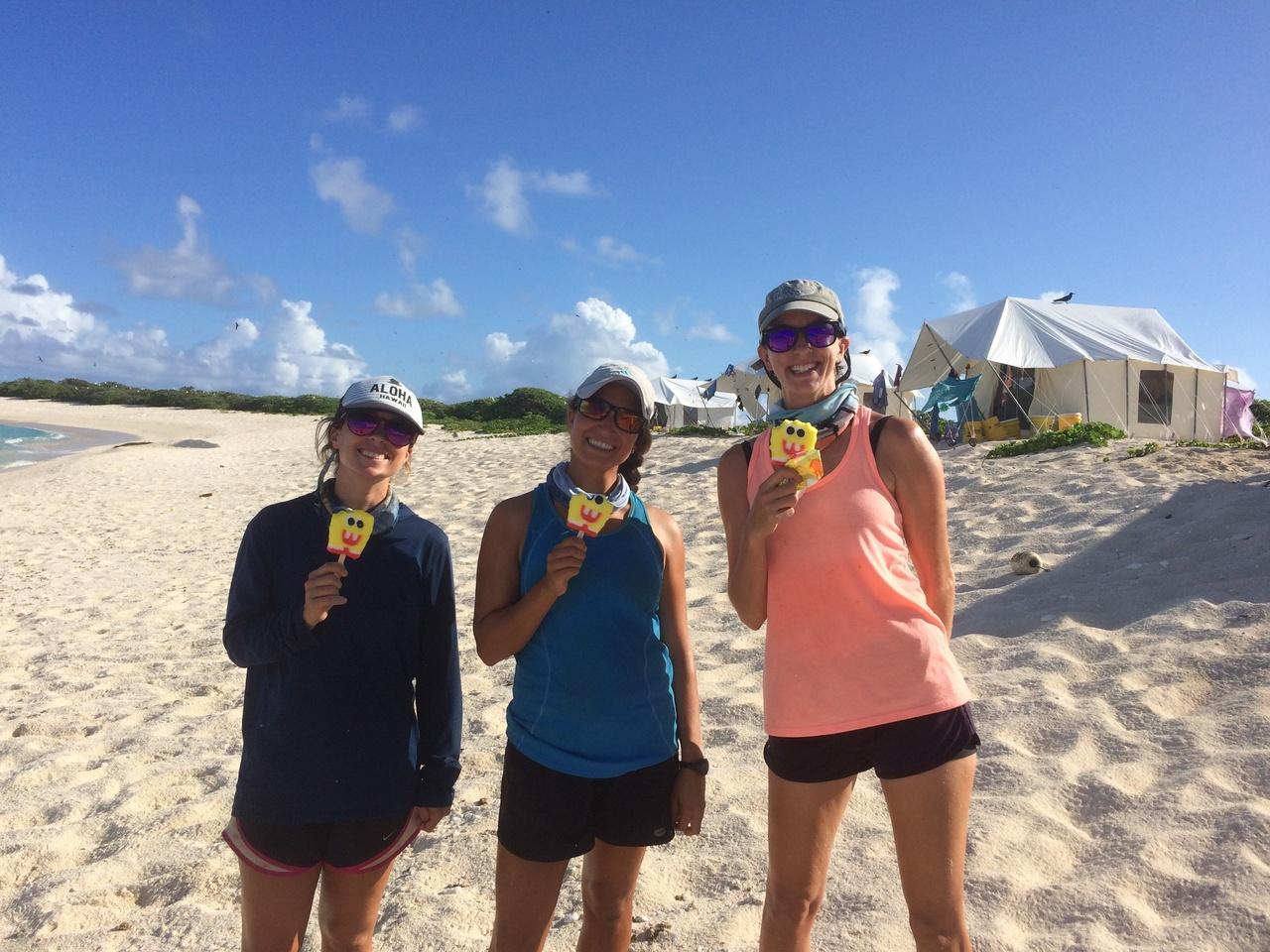 Three scientists of the Laysan Team on Laysan Island.