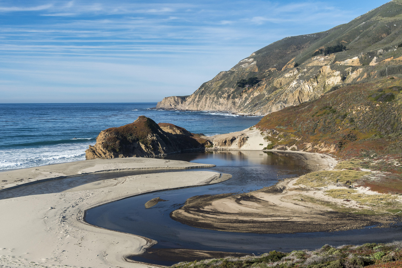 The Little Sur River winds its way into the Pacific in Big Sur, California.
