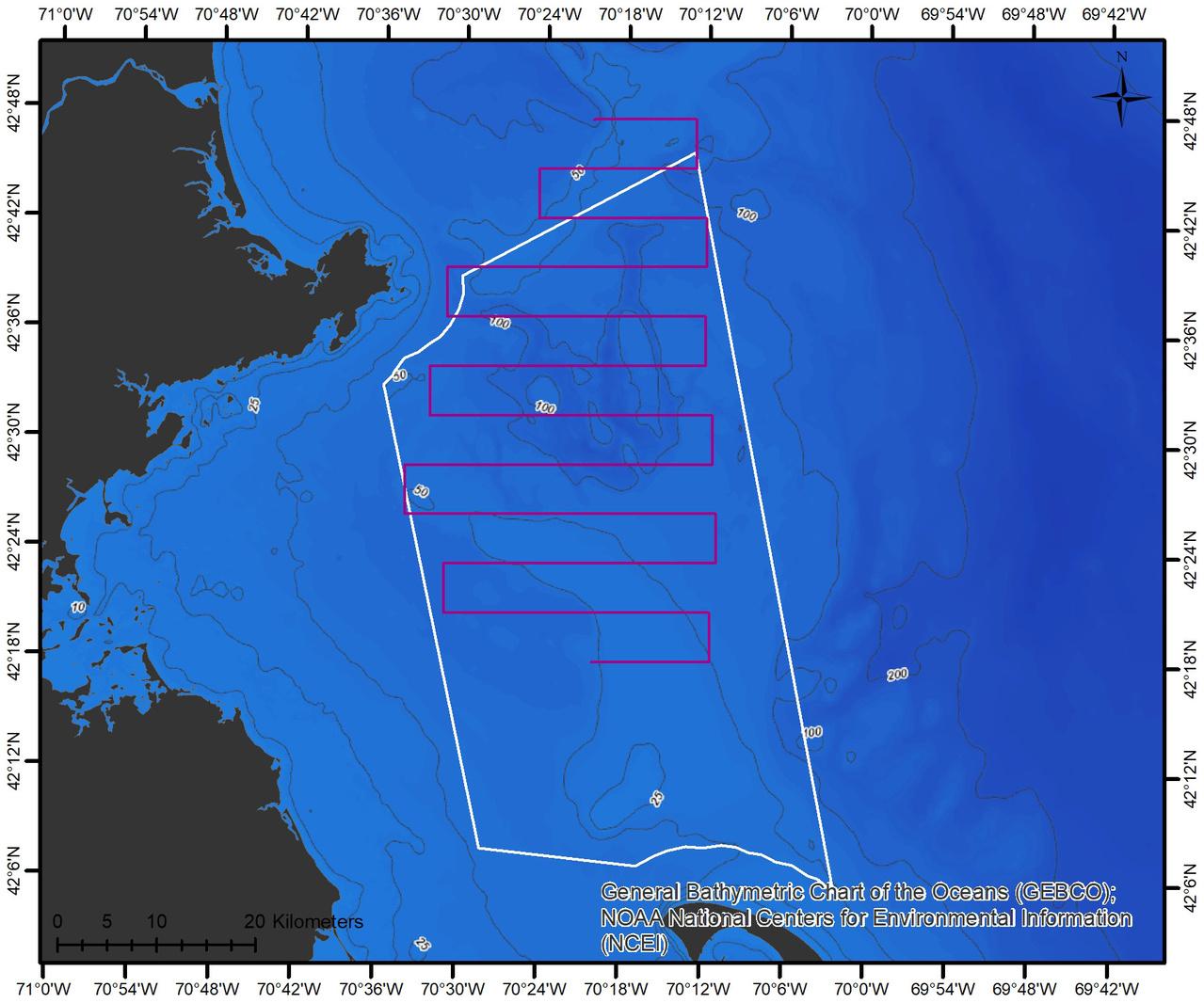 Map showing proposed glider tracks inside boundaries of  Stellwagen Bank National Marine Sanctuary off Massachusetts