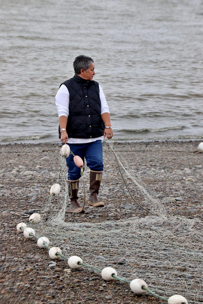 Carla Harris preparing to set her subsistence salmon net in Naknek, AK (photo by Sarah Wise)
