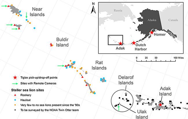 Steller sea lion survey locations.