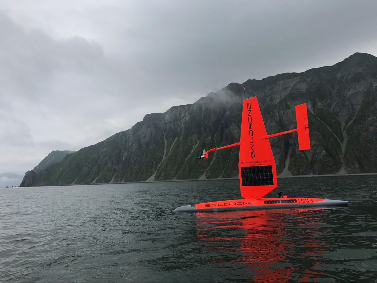 A Saildrone sets out from Dutch Harbor, Alaska, to begin work in the Bering Sea which included tracking foraging northern fur seals.  Photo courtesy of Saildrone Inc.