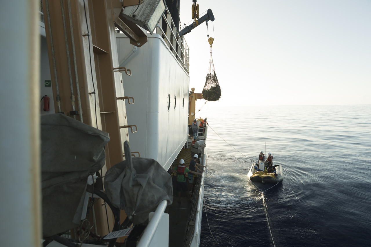 Derelict fishing nets are craned onboard the NOAA Ship Sette