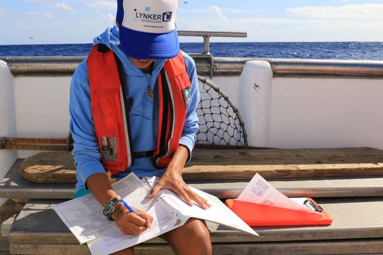 Fisheries observer recording data.