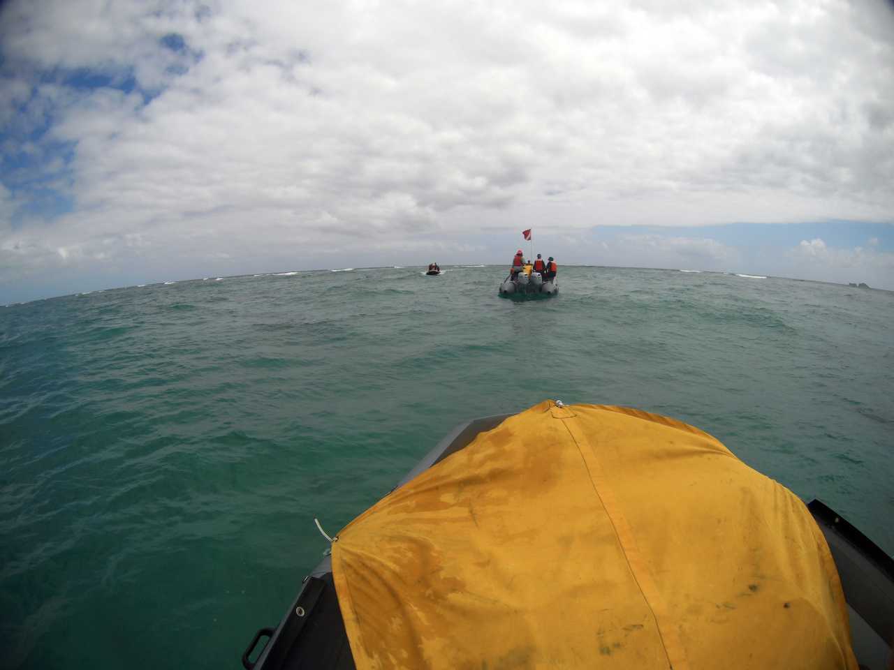 Small boat training in Kaneohe Bay to learn to navigate the reefs in theNorthwestern Hawaiian Islands