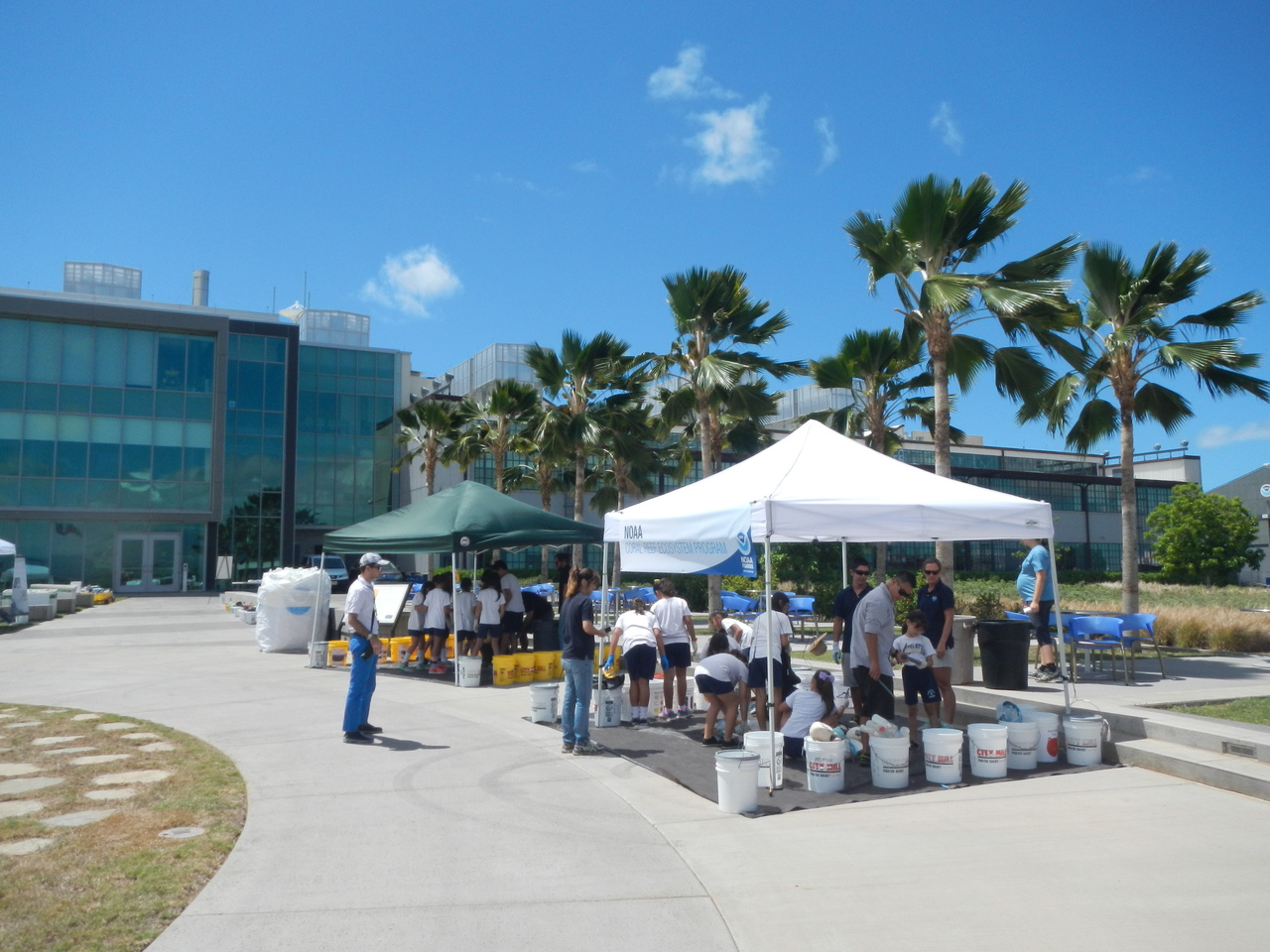 The Marine Debris team hosted an outreach and education event on May 20, 2016 at Inouye Regional Center, Pearl Harbor. Students from several schools of Oahu learned the marine debris issues and helped the team sorting the debris collected from the Northwestern Hawaiian Islands. Photo: NOAA Fisheries
