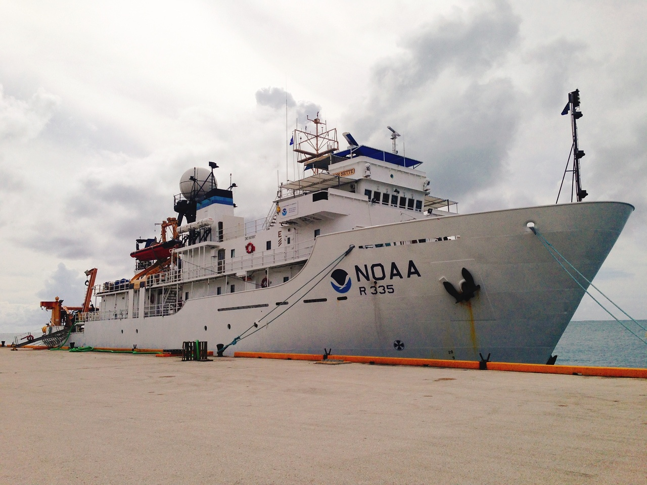 NOAA Ship Oscar Elton Sette docked and loaded in Saipan, ready to embark on a 24-day research cruise in the Northern Mariana Islands