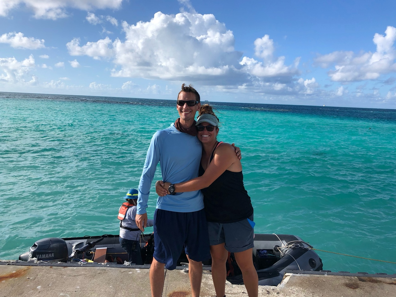Two turtle biologists reunited at French Frigate Shoals.