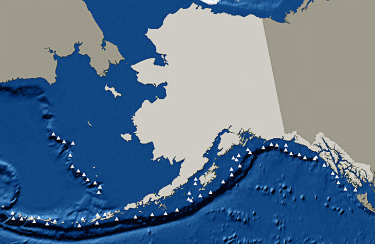 Triangles represent longline survey stations where fish are tagged and released.
