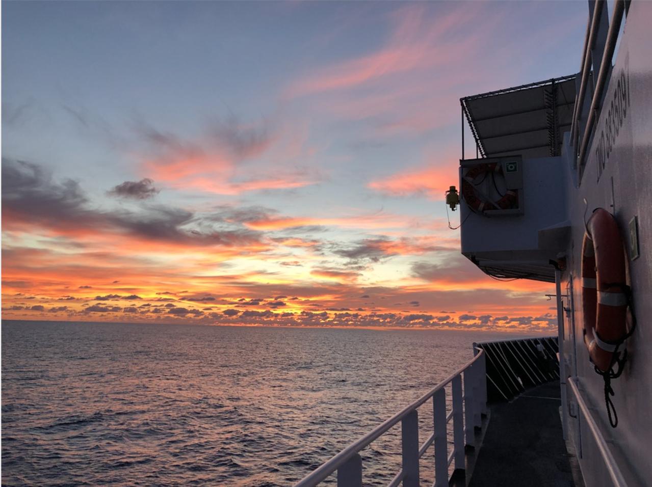 The Oscar Elton Sette sails into the sunset.