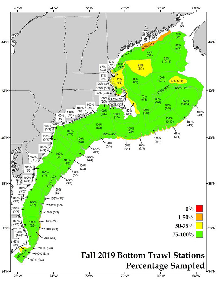 map showing locations of completed NEFSC 2019 fall bottom trawl survey resource stations