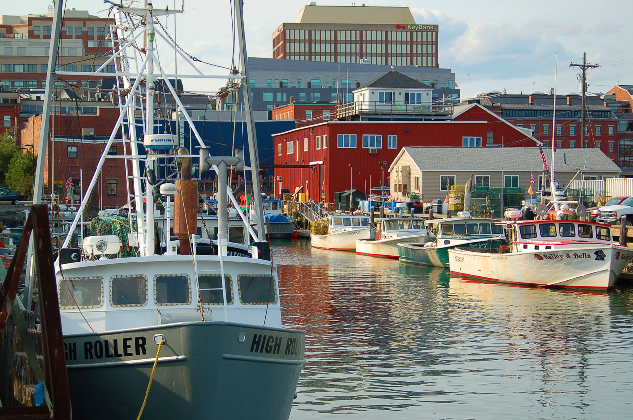 fishing vessels docked in Portland, Maine