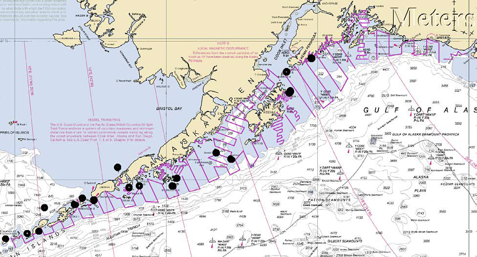 Planned survey stations for the Acoustic-Trawl Pollock Survey of the Gulf of Alaska Shelf, Bays, and Troughs.