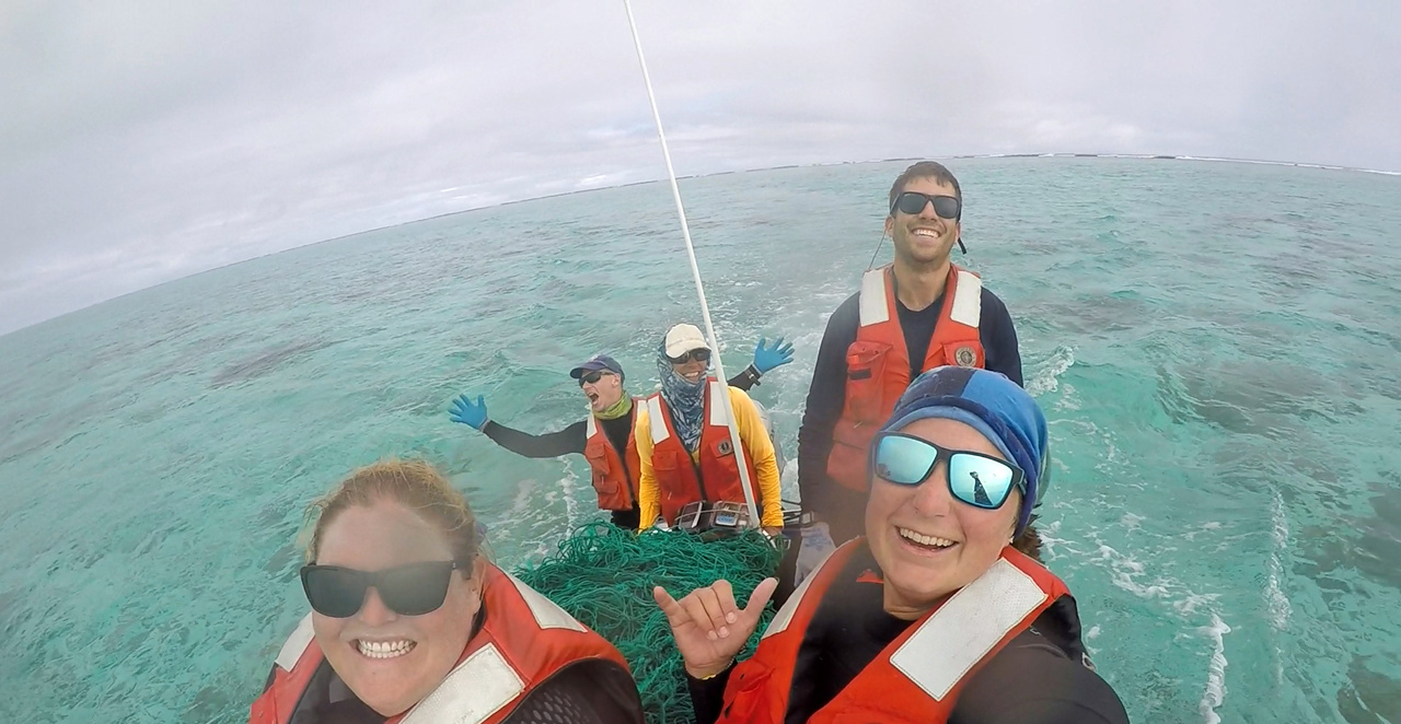 """The """"Furious Five"""" with a load of debris aboard our small boat"""