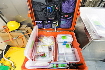 All the sampling and collection instruments are stored in one case for ease and efficiency.  Photo credit: Josh London