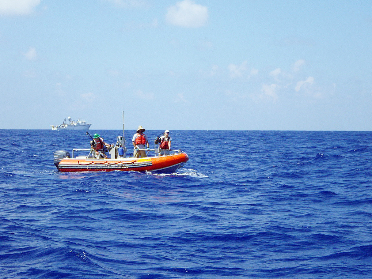 Small boats launched from the NOAA Ship Sette will be used to collect fish samples for life-history studies.