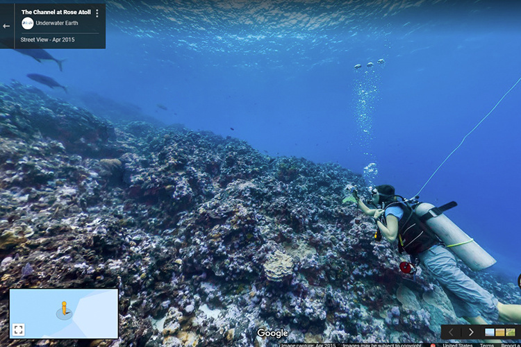 360 degree underwater of The Channel at Rose Atoll Marine National Monument, American Samoa.