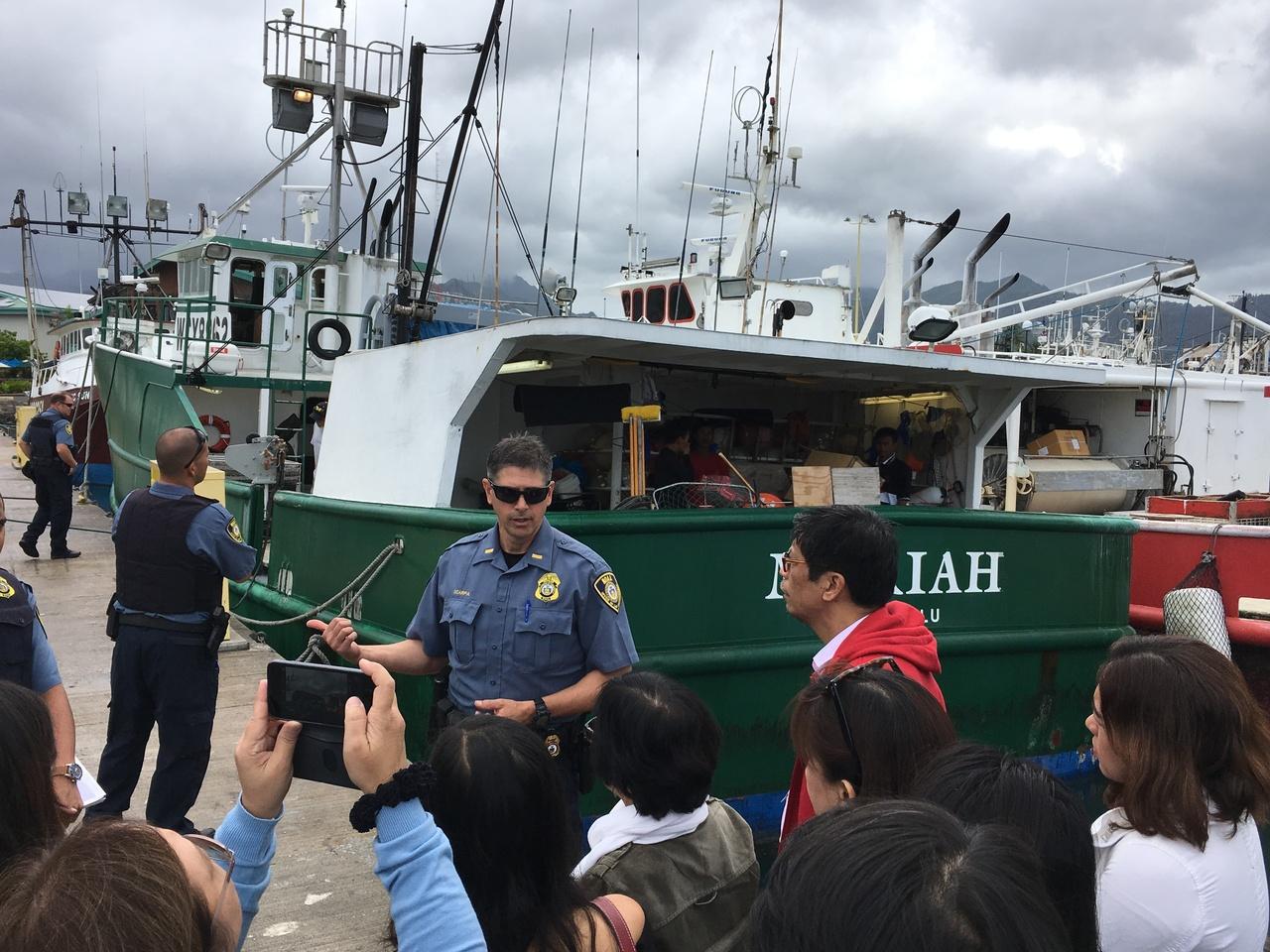 Inspection of longline fishing vessel led by NOAA Office of Law Enforcement's Joe Scarpa at Pier 38 in Honolulu