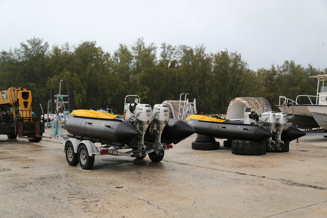 On April 14, the team was able to finish building the two 17' inflatable Zodiac MKIV work boats. The boats will be used to remove marine debris from the shorelines of the Northwestern Hawaiian Islands. Photo: NOAA Fisheries
