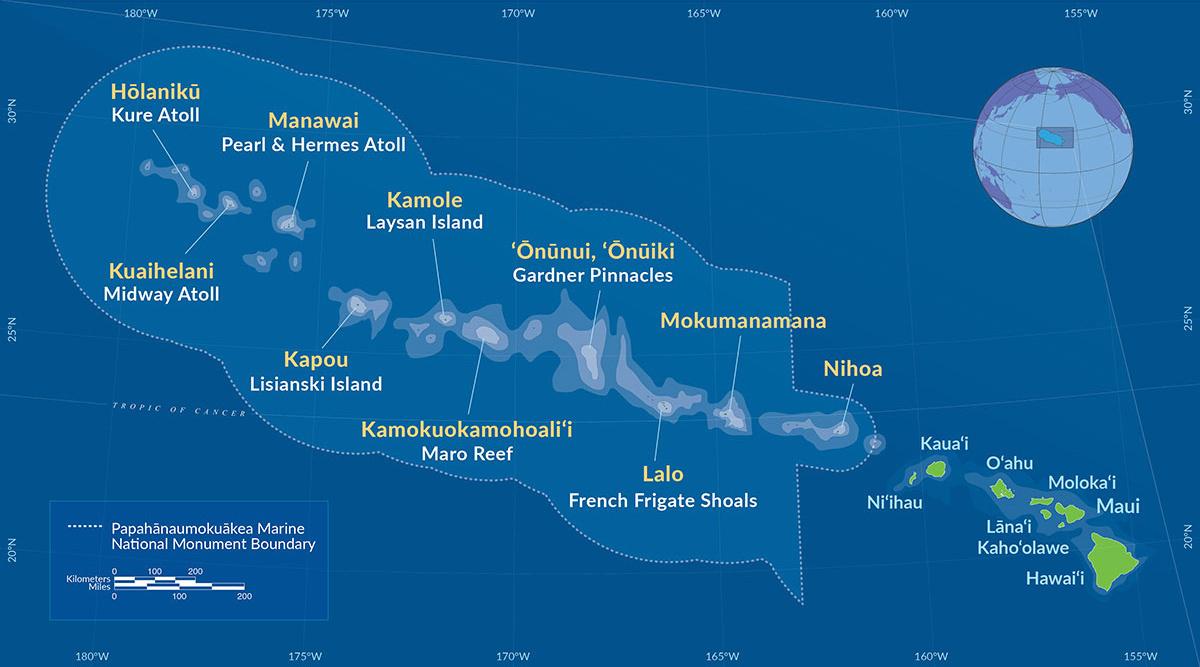 Map of the Hawaiian Islands including the Papahānaumokuāea Marine National Monument
