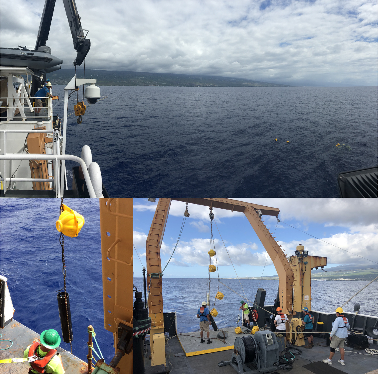 """We maintain a long-term dataset of acoustic recordings collected from high-frequency acoustic recording packages (HARPs) from 13 different sites around the world. One site includes a HARP located offshore from Kona, Big Island. Today, the acoustics team led the effort to (top, left image) recover the """"old"""" HARP with data then (right image) redeploy a """"new"""" HARP with an empty hard drive to record new acoustic data. Photo: NOAA Fisheries/Marie Hill and Suzanne Yin."""