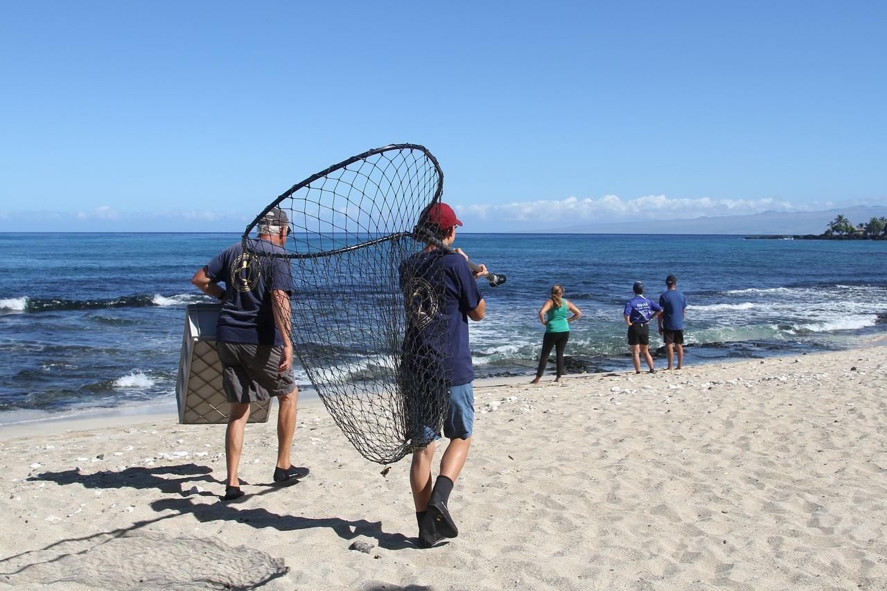 Students carrying scoop net.