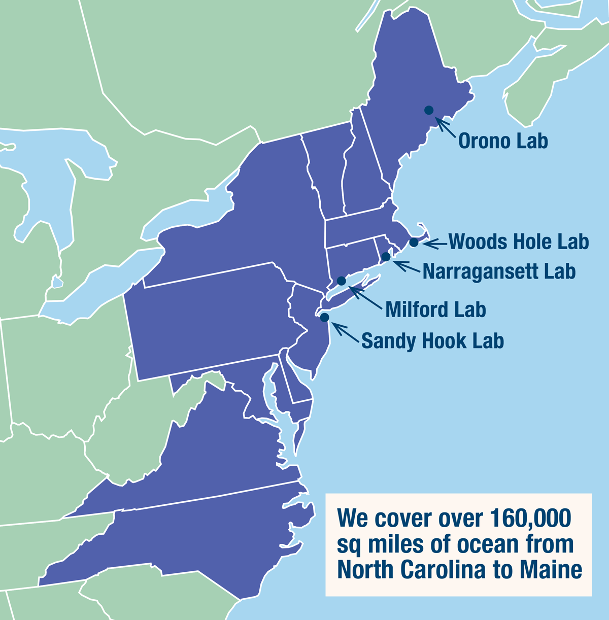 Map of the northeast U.S. coast showing Northeast Fisheries Science Center locations.