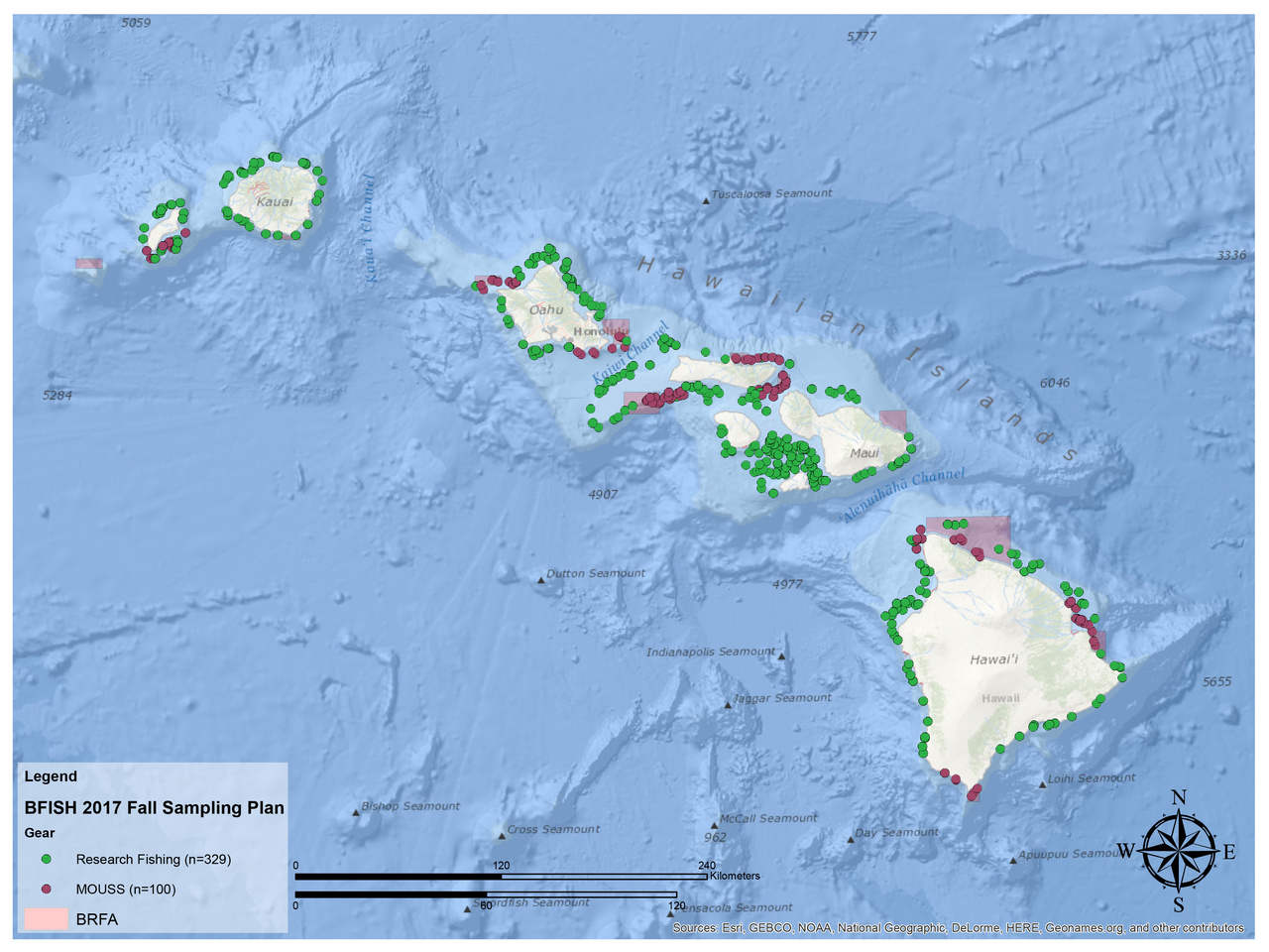 Map of sampling locations planned for the 2017 bottomfish survey.