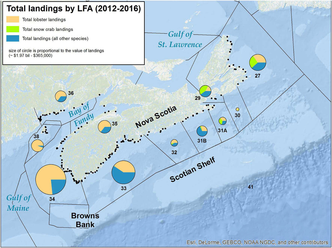 Map showing total landings by lobster fishing area in Nova Scotia between 2012 and 2016.