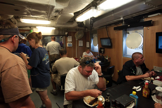 Ship crew in the galley