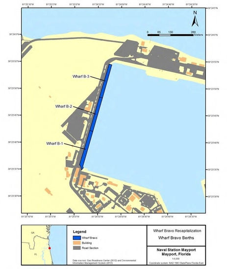 Map of bravo wharf project area