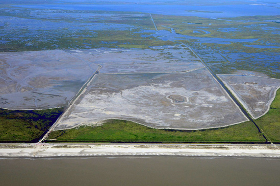 Aerial photo of construction underway on a marsh