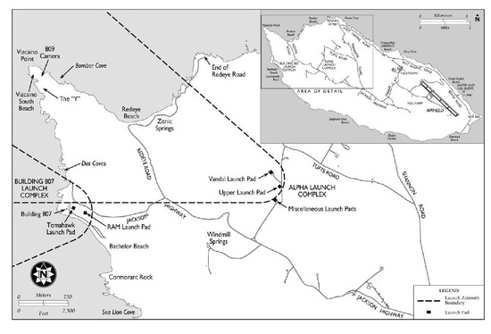 Map of launch complexes, typical missile azimuths, and pinniped haulout beaches