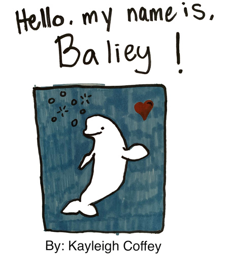 Drawing of beluga named Baliey submitted by Kayleigh Coffey.